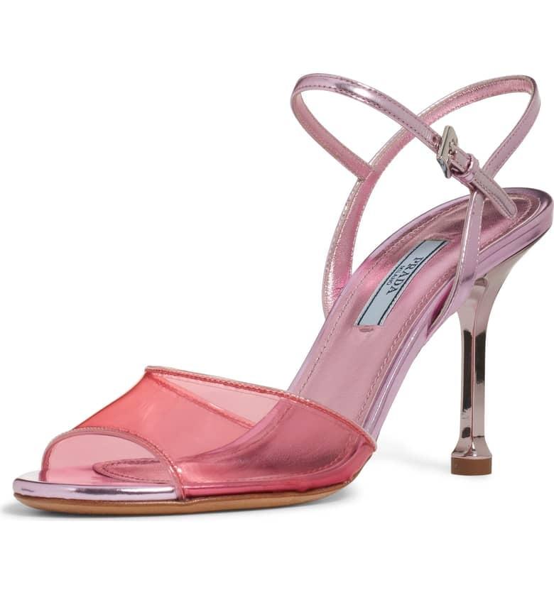 Prada Pin Heel Transparent Sandals