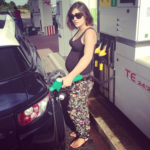 Pregnant Margherita Missoni looked adorable while pumping gas — we're smitten with her printed pants. Source: Instagram user mmmargherita