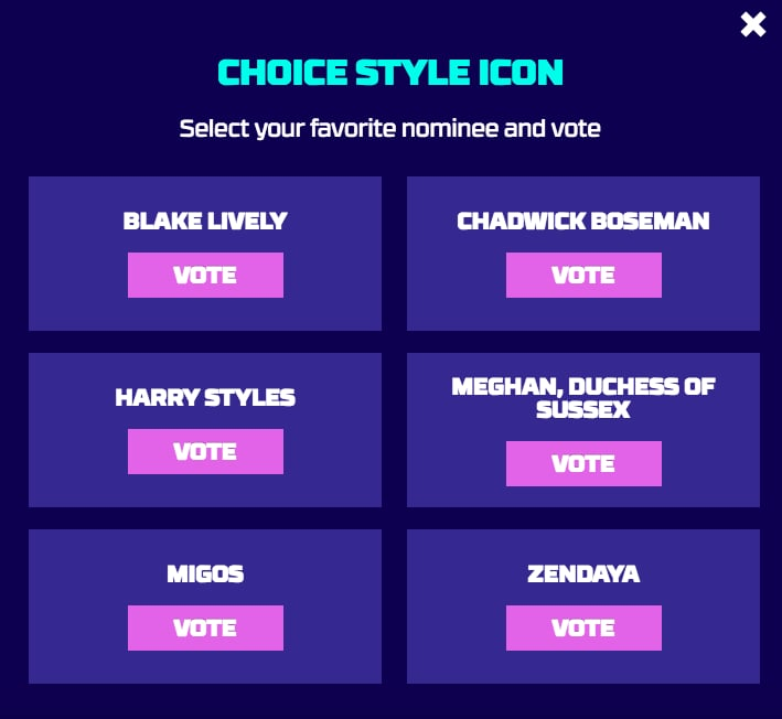 Teen Choice Style Icon Award Nominees