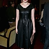 Greta Gerwig wore a black dress.