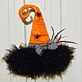 Halloween Witch Hat Door Hanger Wreath
