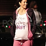Jessica Biel films What to Expect When You're Expecting.