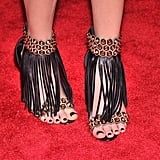 Elizabeth Banks wore Brian Atwood tasseled sandals.