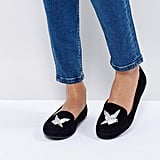 New Look Bird Embroidered Suedette Shoe