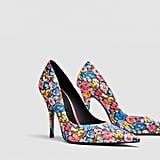 Zara Printed High Heel Court Shoes