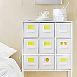 Lively pops of yellow brighten up the Sprutt cabinet with drawers ($90).