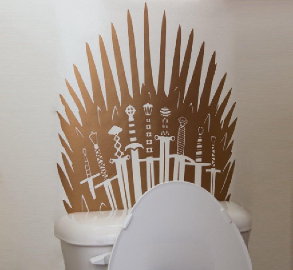 Metallic Iron Throne Toilet Decal