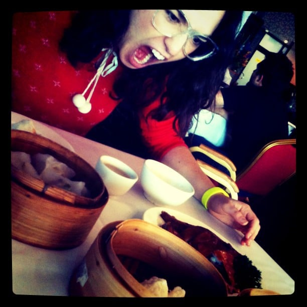 Alice was excited to be at yum cha. Source: Instagram user kyliemillar