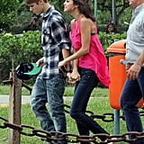 Justin took Selena on a helicopter ride in Brazil in October 2011.