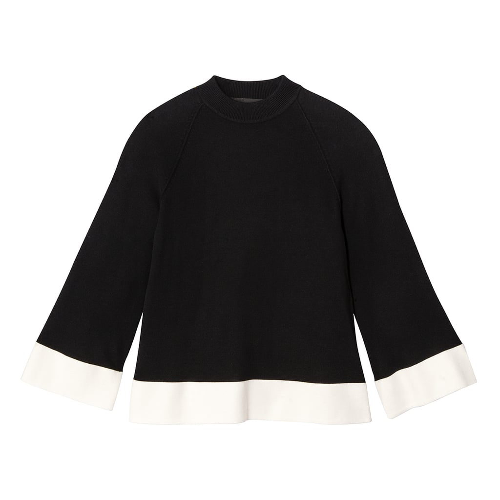 Black and White High Neck Sweater Knit Top ($28)