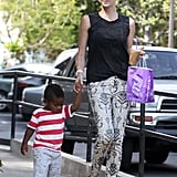 Charlize Theron spent Wednesday walking hand in hand with baby Jackson in LA.