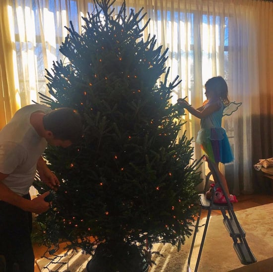 Tom Brady and Daughter Decorating Christmas Tree Photo 2016