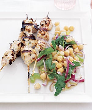 Chicken Kebabs With Chickpea Salad Recipe