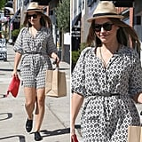 Sophia Bush makes a case for a printed dress and oxfords — plus a cool-girl hat.