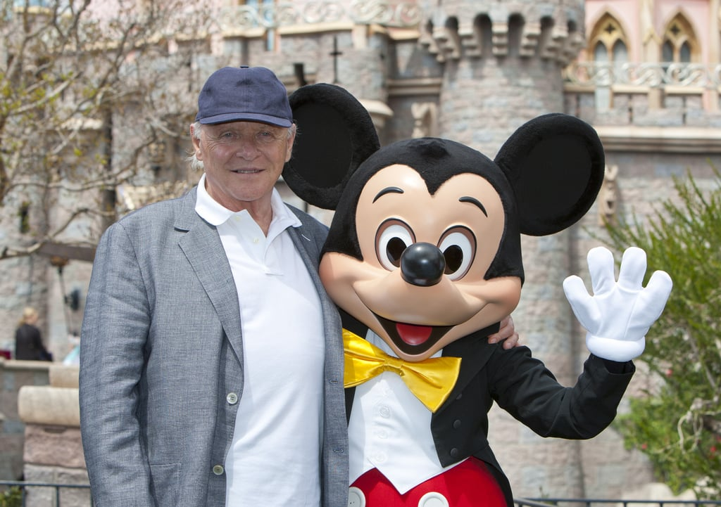 Anthony Hopkins shared a photo op with Mickey Mouse at Disneyland in April 2013.