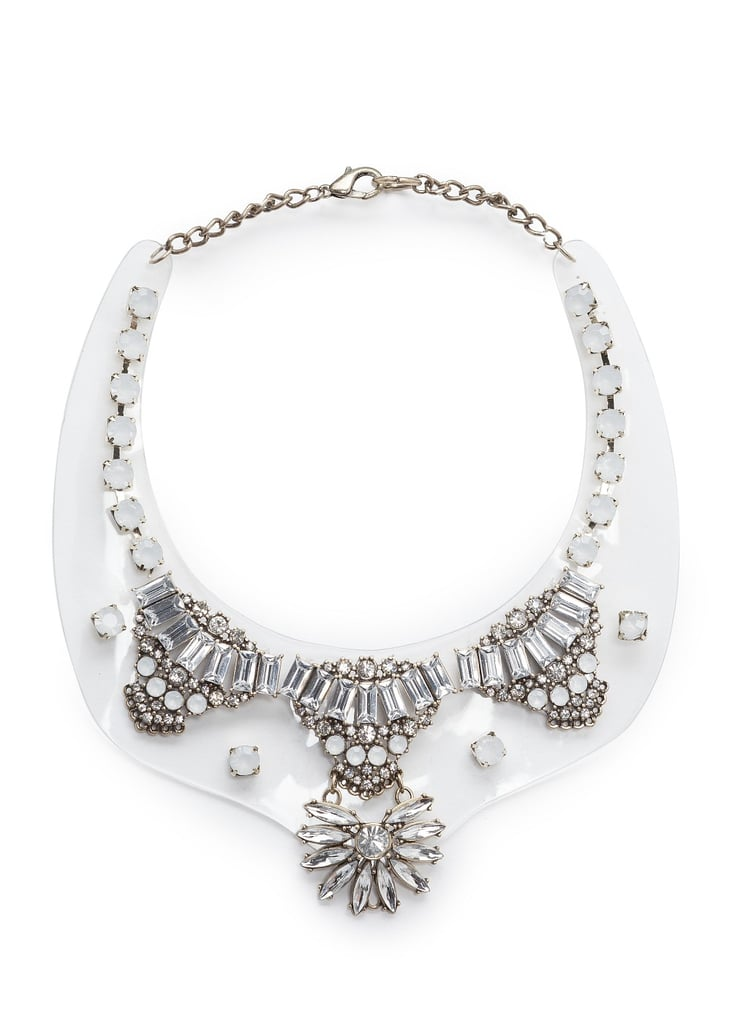 Transparent detailing gives this  Mango crystal-embellished necklace ($40) a more effortless tilt; try pairing it with a simple white tee and crisp black shorts for the perfect mix of casual chic.