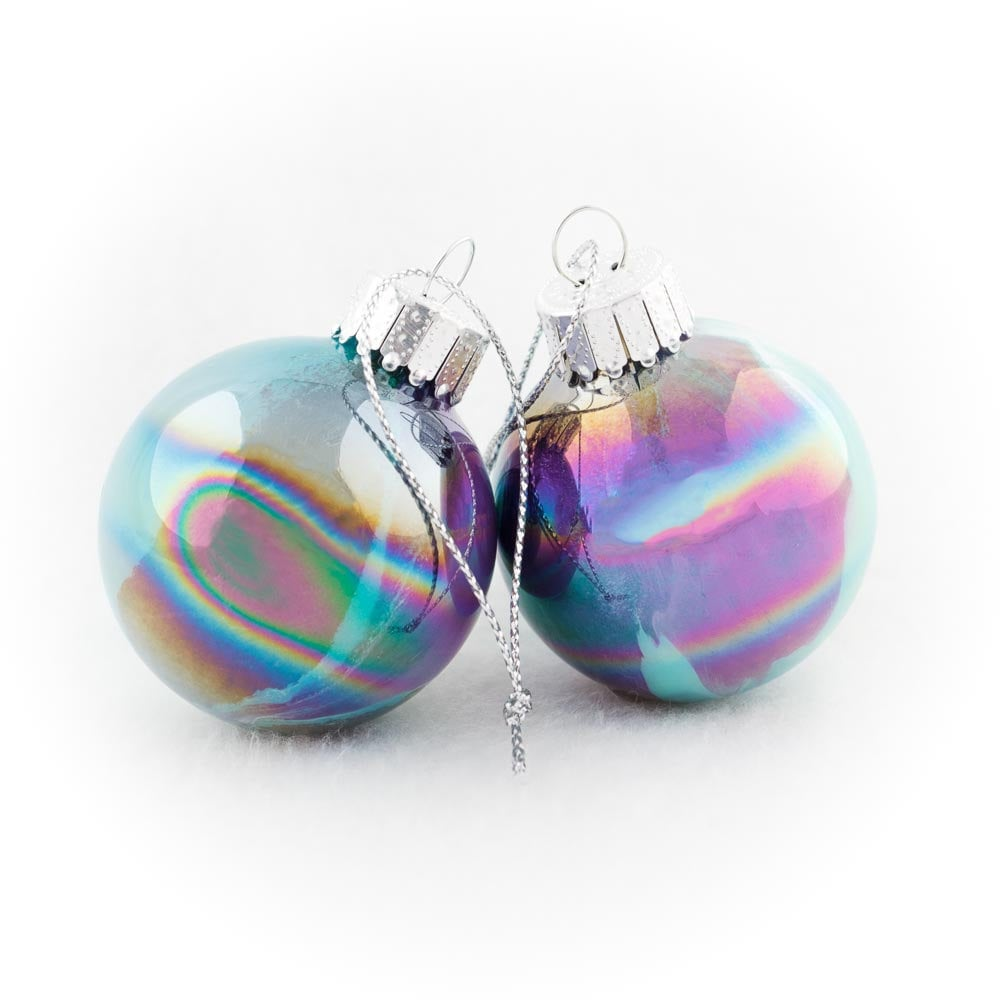 Peacock Colored Iridescent Glass Ornaments ($8)