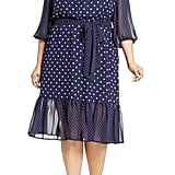 Eliza J Polka Dot Chiffon Dress