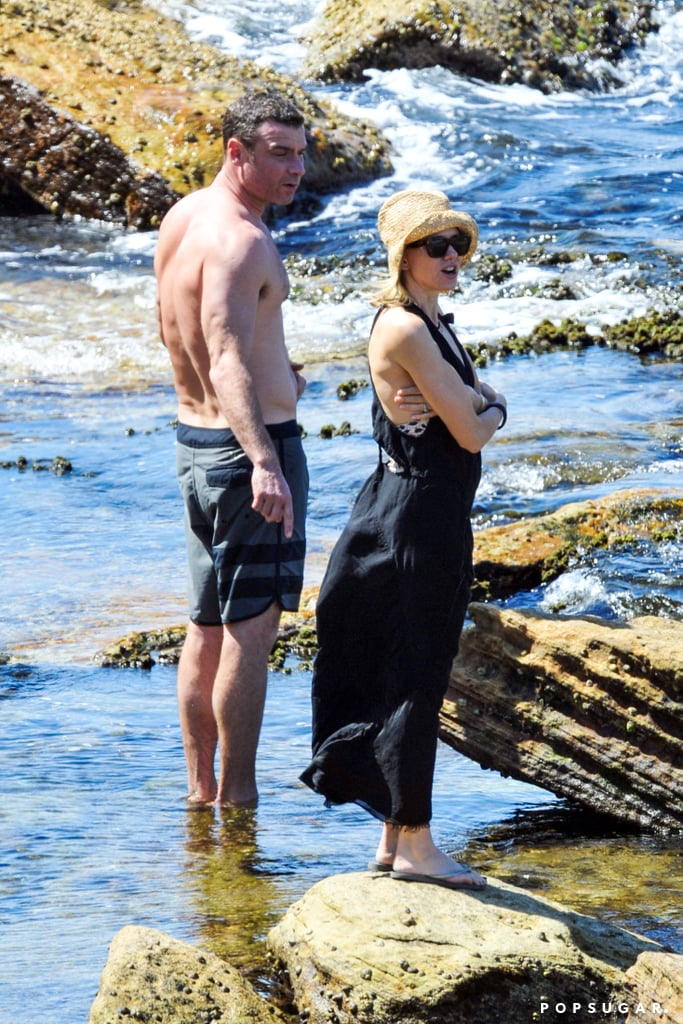 Naomi Watts and Liev Schreiber dipped their feet in the water.