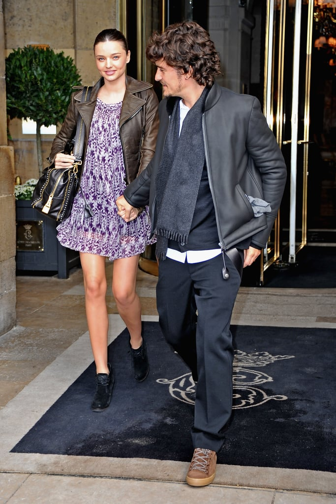 Pregnant Miranda and Orlando held hands as they departed from the Balenciaga Spring/Summer 2011 show in Paris in Sept. 2010.
