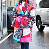 Cinch a colorful cocoon smock with a structured style.