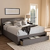 Baxton Studio Brandy Modern and Contemporary Grey Fabric Upholstered Platform Bed