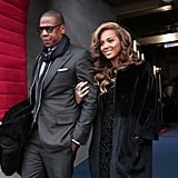Jay-Z and Beyoncé Knowles arrived at the inauguration.