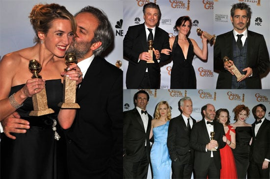 Photos of Kate Winslet, Tina Fey, Alec Baldwin, Colin Firth, Kate Beckinsale, Diddy with Trophies at Golden Globes Press Room