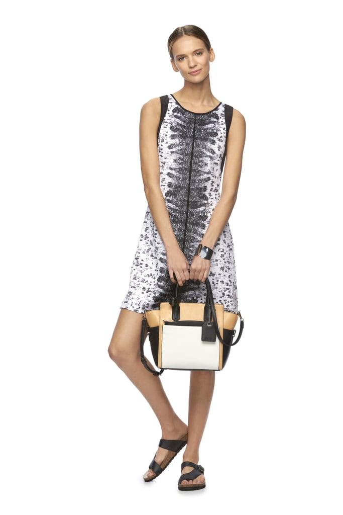 Abstract Shift Dress ($68) and Atlantique Medium Convertible Satchel ($109)