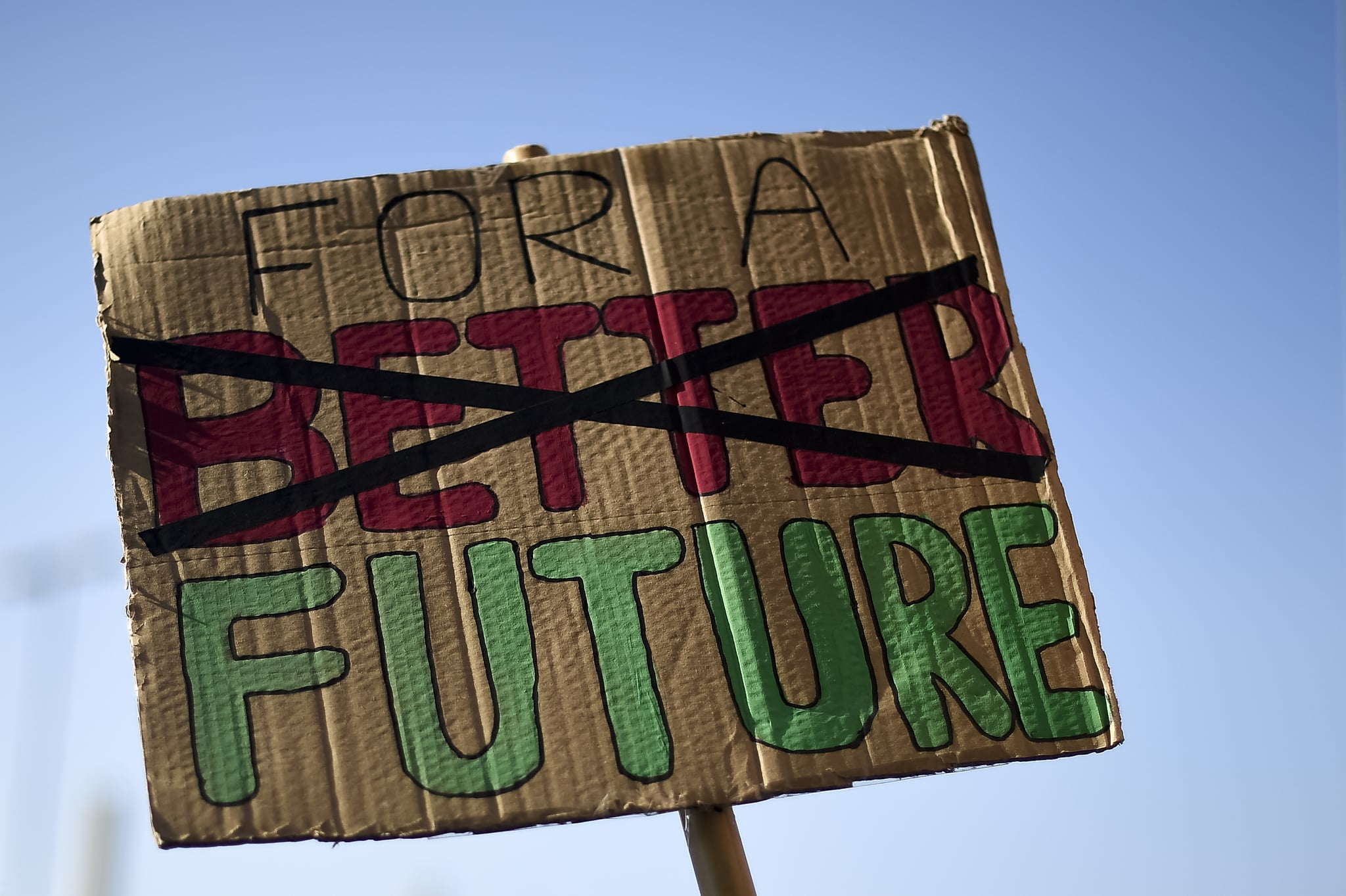 TURIN, ITALY - 2019/11/29: A placard reading 'For a better future' is seen during 'Fridays for future' demonstration, a worldwide climate strike against governmental inaction towards climate breakdown and environmental pollution. (Photo by Nicolò Campo/LightRocket via Getty Images)