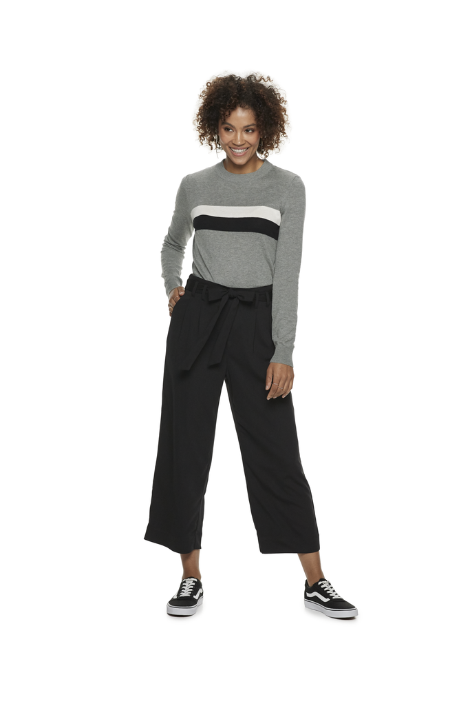 Colorblock Center-Stripe Sweater in Heather Gray