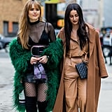 If You Have a Lingerie Top, Wear It Under a Sheer Shirt and Furry Coat