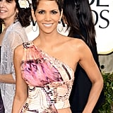 Halle Berry wore a sexy Versace gown.