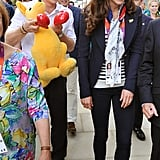 The Duchess of Cambridge's smile couldn't have been bigger when Prince Harry walked behind her carrying a giant kangaroo during the 2012 Olympics.