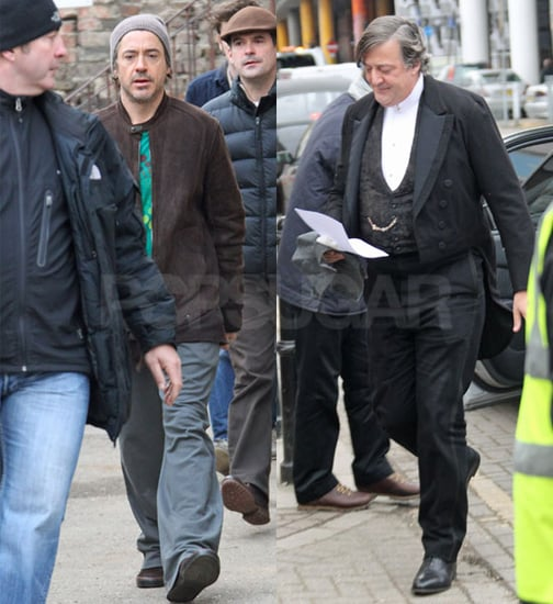 Pictures of Stephen Fry, Jude Law, Robert Downey Jr Filming Sherlock Holmes 2