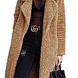 Angashion Women's Fuzzy Fleece Lapel