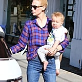 January Jones wore a plaid shirt while out in Los Feliz, CA.
