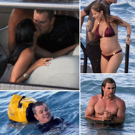 Matt Damon and Luciana Kissing in St. Barts Pictures