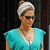 Eva Mendes tried a casual-cool combo that's perfect for beating the heat: a topknot and a turban.