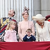 Pictured: Prince Edward, Lady Louise Windsor, Sophie, Countess of Wessex, James, Viscount Severn, Camilla, Duchess of Cornwall, and Prince Charles.