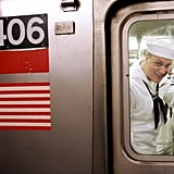 A US Navy sailor from the USS John F. Kennedy rode New York's subway during 2005 Fleet Week.