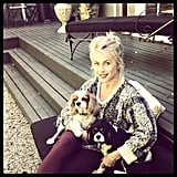 "Julianne Hough shared a photo while snuggling with her dogs, saying, ""I get to finally wear sweaters and drink pumpkin spiced lattes..."" Source: Instagram user juleshough"