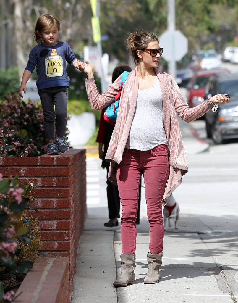 Pregnant Alessandra Ambrosio with Anja.