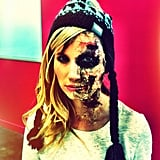 Makeup artist Kasia dressed up, convincingly, as Zombie Ellie Goulding.
