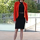 Robbie Myers, editor in chief of Elle, kept it sophisticated in a red jacket and black sheath.