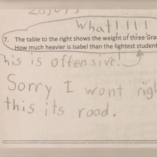 Student Refuses to Answer Math Problem About Girls' Weight