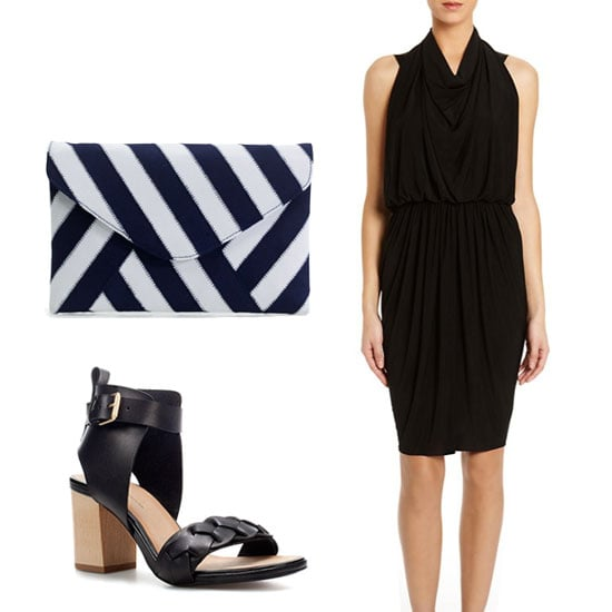 An LBD always looks chic. We suggest adding a sophisticated striped envelope clutch to give this dress just the right amount of Summer party flair. Get the look:   Alexander Wang Draped Backpack Halter Dress ($825)  J.Crew Invitation Clutch in Ribbon Stripe ($98)  Zara Platform Sandal ($90)