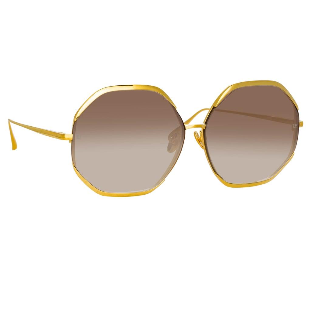 Linda Farrow Camila Oversized Sunglasses in Yellow Gold