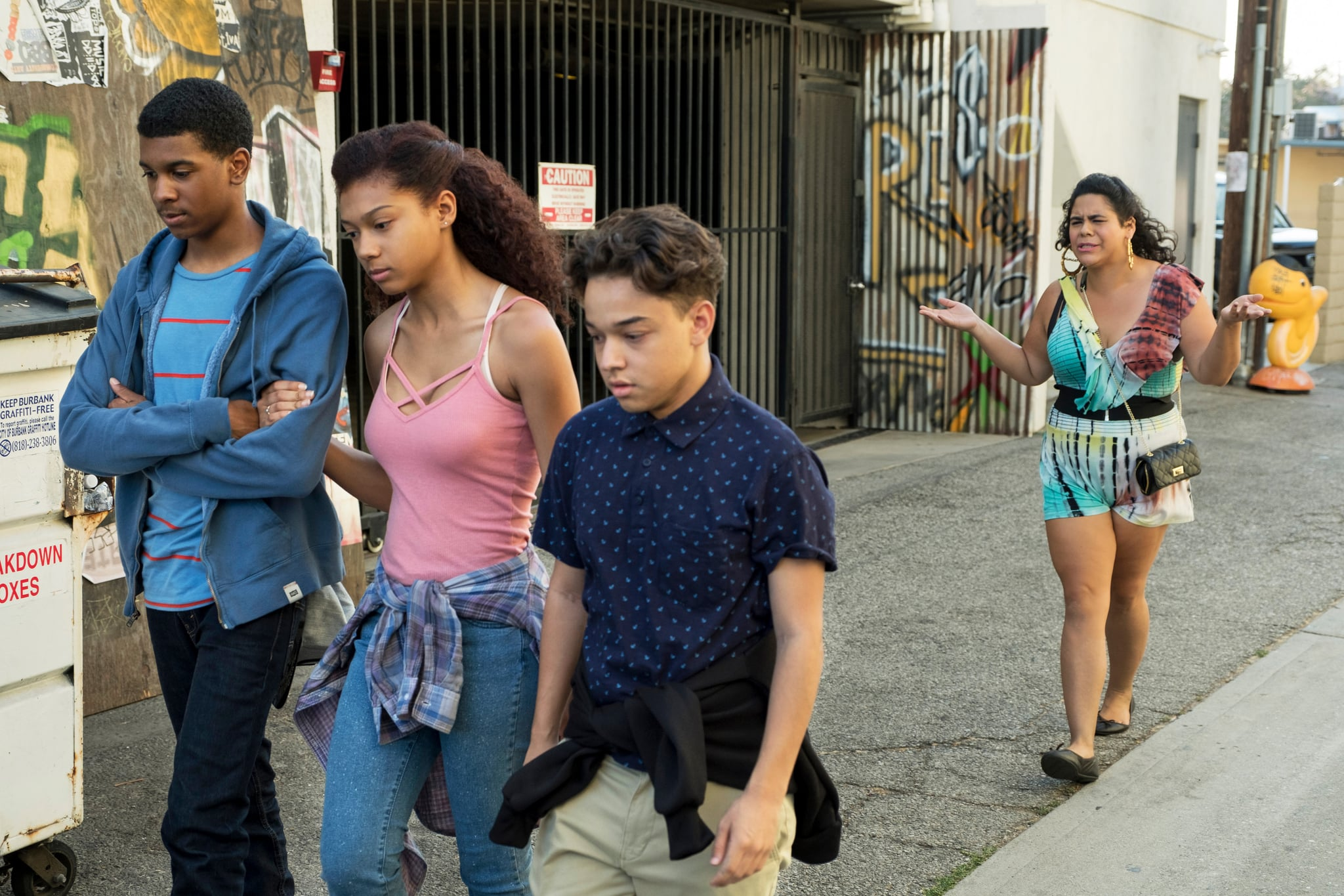 ON MY BLOCK, from left: Brett Gray, Sierra Capri, Jason Genao, Jessica Marie Garcia, 'Pilot', (Season 1, ep. 101, airs March 16, 2018). photo: John O Flexor / Netflix / Courtesy: Everett Collection