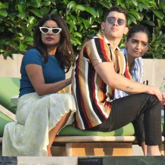 Priyanka Chopra Yellow Skirt and Silver Mules in Italy